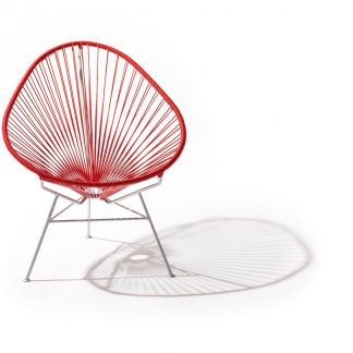 Red on Silver Frame Acapulco Chair